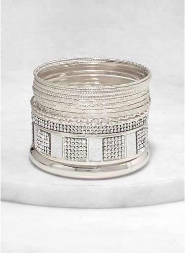 Plus Size Metallic Textured Bangles Set,SILVER,large