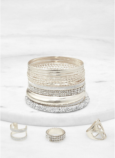 Druzy Bangles with Ring Trio,SILVER,large