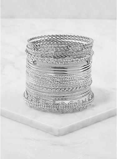 Plus Size Metallic Bangles Set,SILVER,large