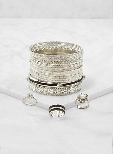Plus Size Set of Metallic Bangles and Rings,BLACK,large