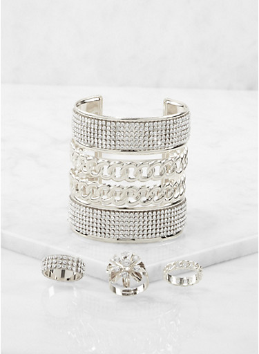 Rhinestone Cuff Bracelet and Rings Set,SILVER,large