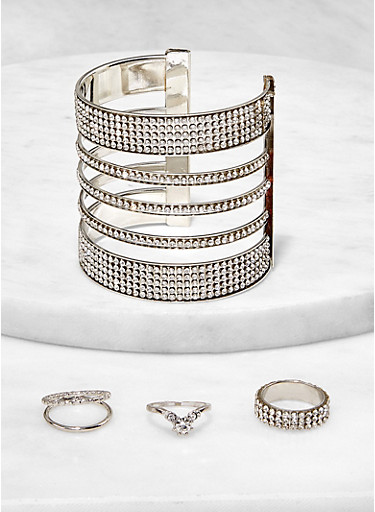Rhinestone Caged Cuff with Ring Trio,SILVER,large