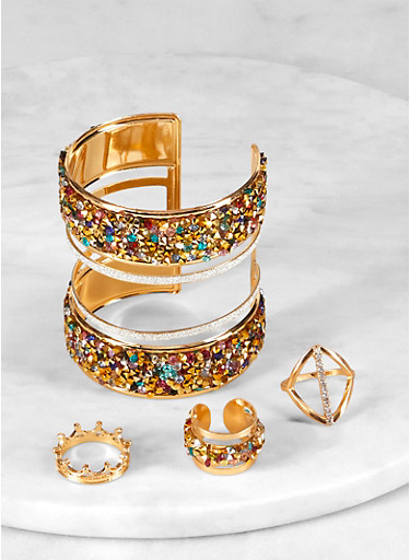 Rhinestone Glitter Cuff Bracelet and Ring Trio,GOLD,large