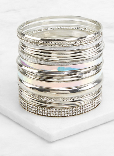 Set of Metallic Iridescent Bangles,SILVER,large