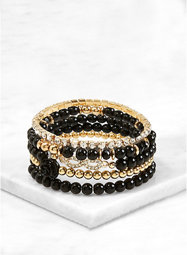 Beaded Rhinestone Stretch Bracelets,BLACK,large