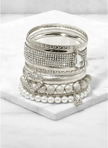Faux Pearl Charm Bangles,SILVER,large