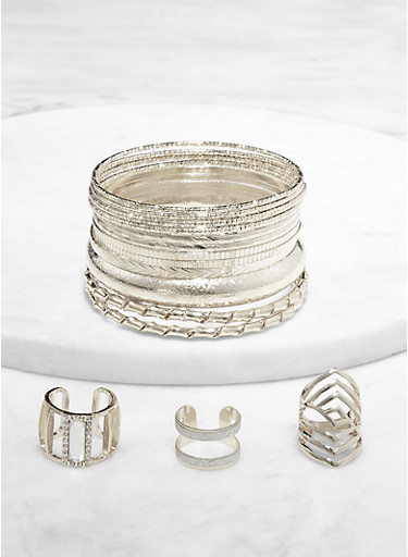 Plus Size Hammered Metallic Bangles and Rings,SILVER,large