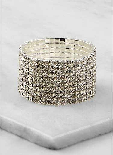 Rhinestone Stretch Cuff Bracelet | 1194003208014,SILVER,large