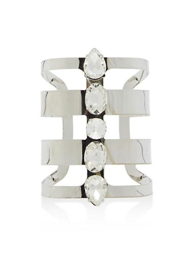 Jewel Encrusted Cuff Bracelet,SILVER,large