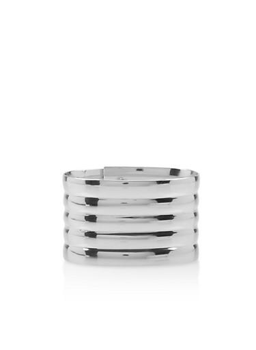 Flexible Metallic Snap Bracelet,SILVER,large