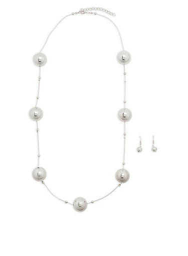 Large Metallic Beaded Necklace with Earrings Set,SILVER,large