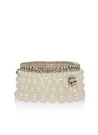Faux Pearl Rhinestone Stretch Bracelets,IVORY,large