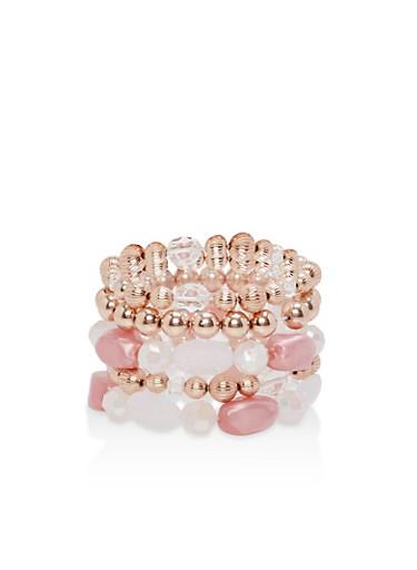 Set of 5 Beaded Stretch Bracelets,LILAC,large