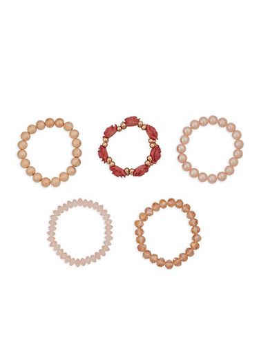 Set of 5 Rose Beaded Stretch Bracelets,MAUVE,large