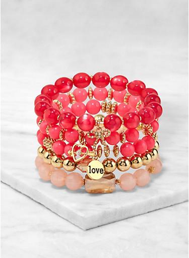 Love Beaded Stretch Bracelets,PINK,large