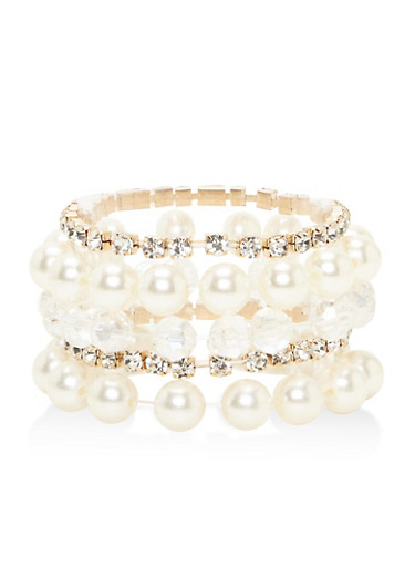 Assorted Stretch Bracelets,IVORY,large