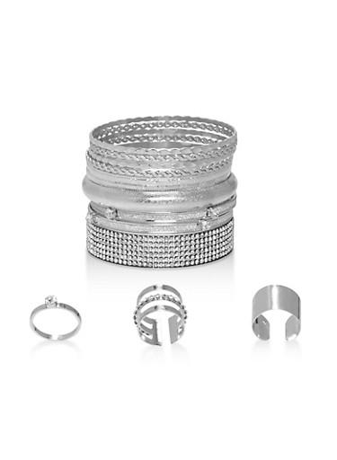 Glitter Rhinestone Bracelets and Rings,SILVER,large