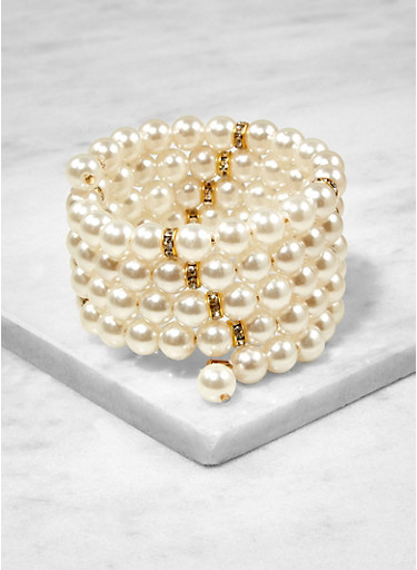 Faux Pearl Coil Bracelet,IVORY,large