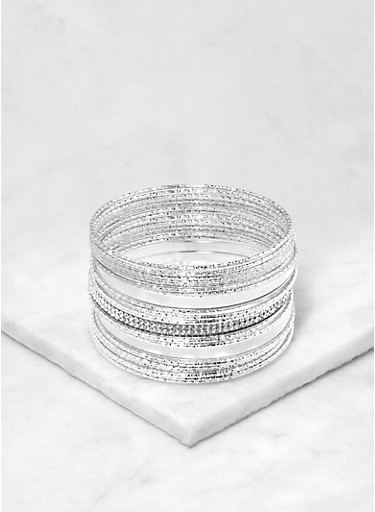 Assorted Iridescent Metallic Bangles,SILVER,large