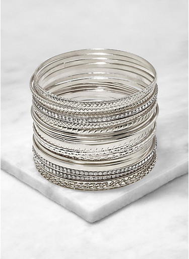 Set of 20 Assorted Metallic Bangles,SILVER,large