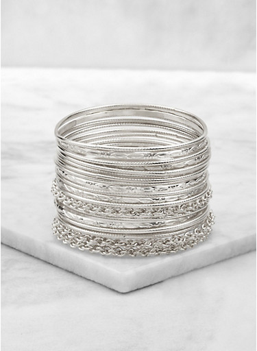 Twisted Bangles Set of 20,SILVER,large