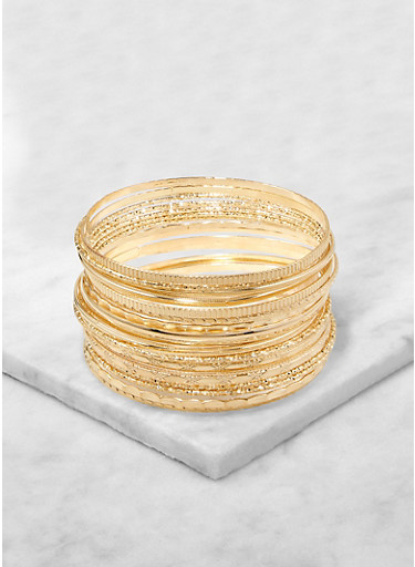 Plus Size Set of Textured Metallic Bangles,GOLD,large