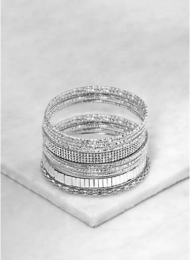 Assorted Rhinestone Studded Metallic Bangles,SILVER,large