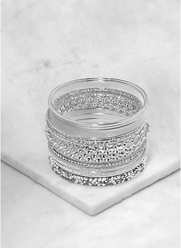 Set of Iridescent and Glitter Bangles,SILVER,large