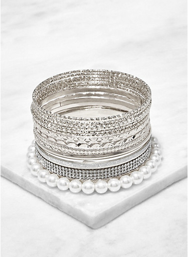 Faux Pearl and Metallic Bangles,SILVER,large