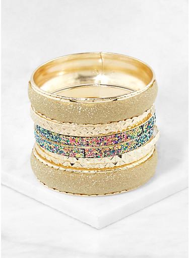 Plus Size Glitter Bangles | 1194062921371,GOLD,large
