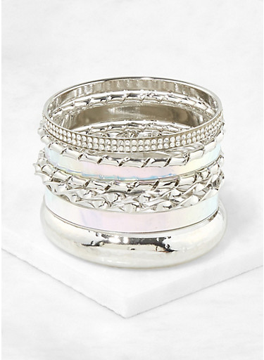 Assorted Iridescent and Metallic Bangles,SILVER,large