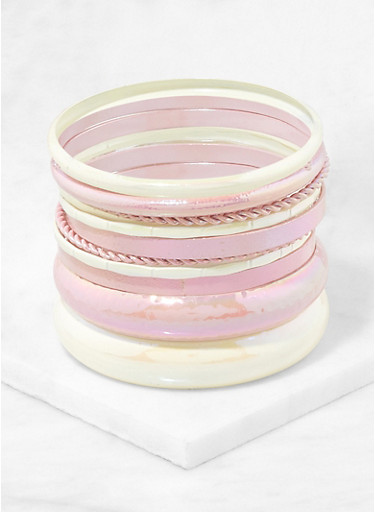 Plus Size Colored Metallic Bangles,PINK,large