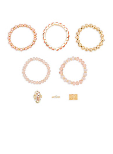 Set of 5 Beaded Rhinestone Stretch Bracelets with Rings,ROSE,large