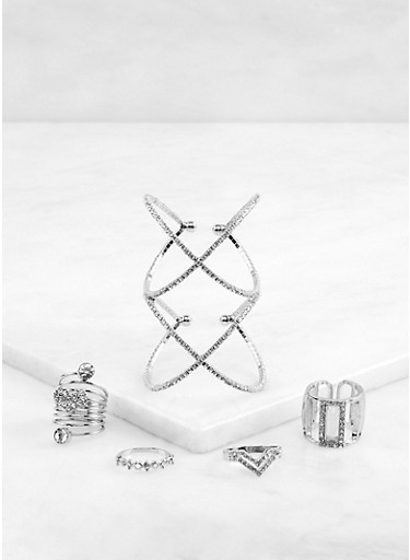 Rhinestone Criss Cross Cuff Bracelet and Rings Set,SILVER,large