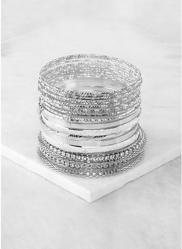 Plus Size Metallic Glitter Rhinestone Bangles,SILVER,large
