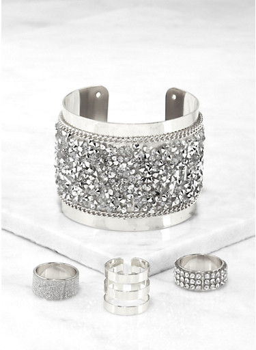 Druzy Cuff with Ring Trio,SILVER,large