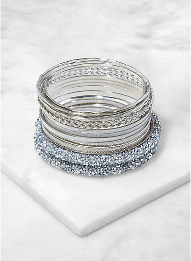 Set of Assorted Druzy Bangles,SILVER,large