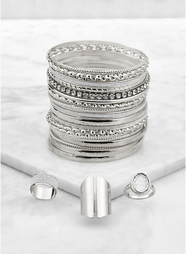Plus Size Metallic Bangles with Chunky Ring Trio,SILVER,large