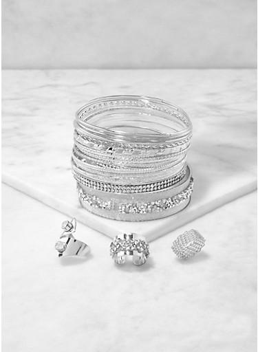 Plus Size Metallic Bangles and Rings Set,SILVER,large