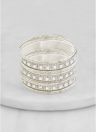 Set of 12 Rhinestone Metallic Bangles,SILVER,large