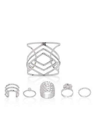 Metallic Cuff Bracelet with 5 Rings,SILVER,large