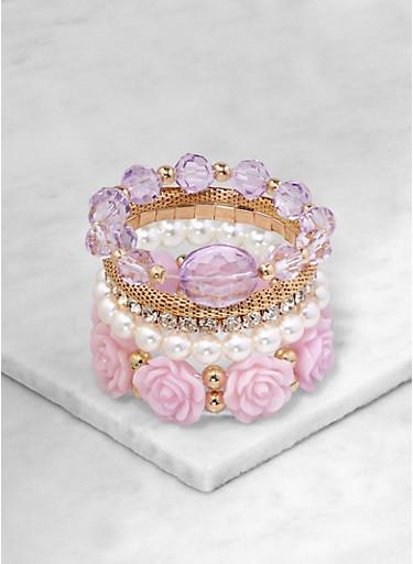 Beaded Stretch Bracelets   1194073843411,MAUVE,large