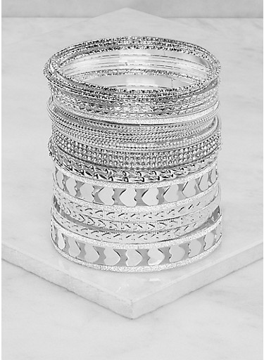 Plus Size Heart Bangles,SILVER,large