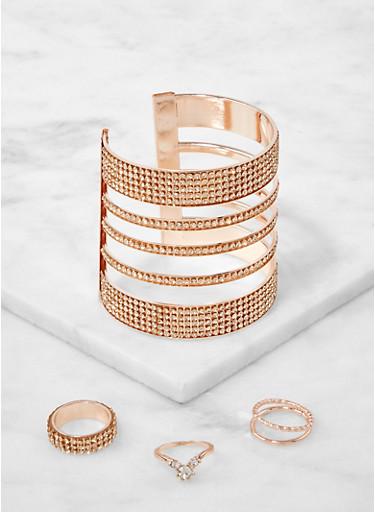 Rhinestone Cut Out Cuff Bracelet and Ring Trio,ROSE,large