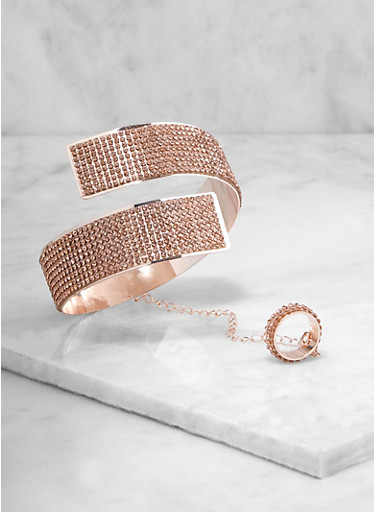 Rhinestone Coil Bangle with Attached Ring,ROSE,large