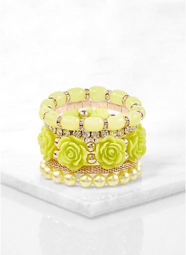 Rose Bud Beaded Stretch Bracelets,GREEN,large