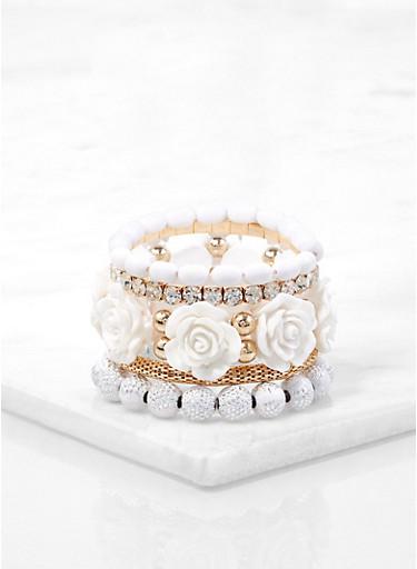 Set of Rose Bud Beaded Stretch Bracelets,WHITE,large