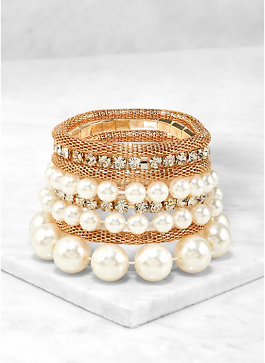 Faux Pearl Stretch Bracelet Set,GOLD,large