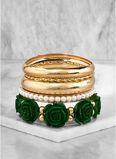 Metallic Faux Pearl Bangles and Stretch Bracelets,GREEN,large