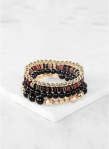 Mixed Bead Stretch Bracelets,BLACK,large